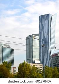 WARSAW, POLAND - AUGUST 23, 2014: Skyscrapers and InterContinental Warszawa hotel near Sredmestye