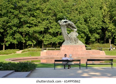 WARSAW, POLAND - AUGUST 23, 2014: A monument to the composer Franz Liszt in the Lazenki park