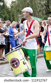 WARSAW, POLAND, AUGUST 26: Unidentified musicians on the parade on Warsaw Multicultural Street Parade on August 26, 2012 in Warsaw, Poland.