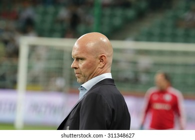WARSAW, POLAND - AUGUST 27, 2015: Henning Berg, Legia Warsaw coach before UEFA Europe League qualifications football match between Legia Warsaw (Poland) and Zoria Lugansk (Ukraine) in Warsaw.