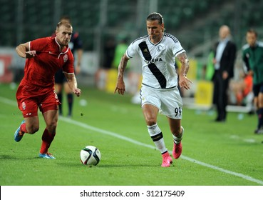 WARSAW, POLAND - AUGUST 27, 2015: Europa League Qualifications 3-nd round Legia Warsaw Poland -Zoria Lugansk
