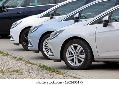 Warsaw, Poland - August, 28, 2018: Opel Astra cars in a row on the parking.