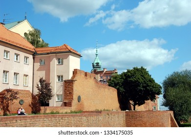 WARSAW, POLAND - AUGUST 3, 2011 - Fragment of old fortress wall in Warsaw, Poland