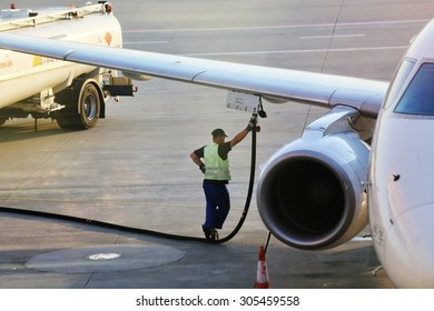 Warsaw, Poland - August 3, 2015  Refueling of the aircraft at Warsaw Chopin Airport