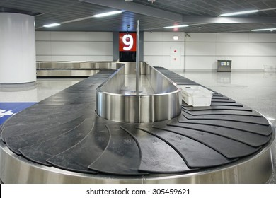 Warsaw, Poland - August 3, 2015  Empty baggage belt at the airport