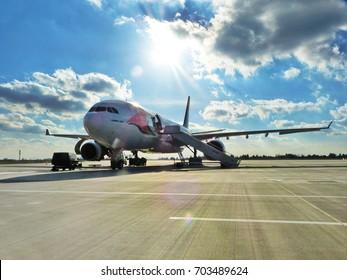 WARSAW, POLAND - AUGUST 31, 2017: Travel Service Poland Airbus A330-243 (registration C-GTSN) at Warsaw Chopin Airport (EPWA/WAW)