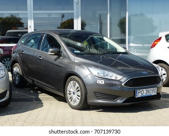 WARSAW, POLAND - AUGUST 31, 2017: FORD FOCUS 2017 SEDAN 1.6 Ti-VCT 105 KM M5 TREND on the street in Warsaw