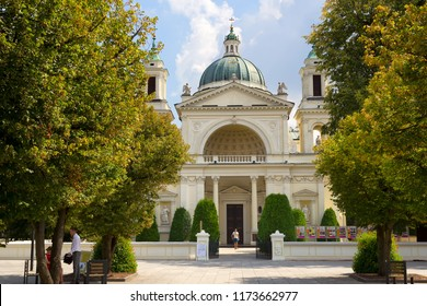 Warsaw, Poland - August 4, 2018: Church of Saint Anne from 1772 in Wilanow district of Warsaw, capital city of Poland.