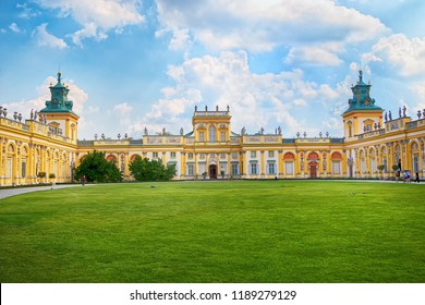 Warsaw, Poland - August 4, 2018: Facade of Wilanow palace, royal residence in baroque style and garden.