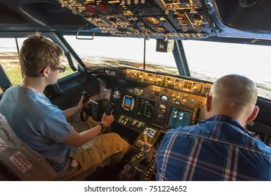 WARSAW, POLAND, August 5, 2017: Interior of modern flight simulator for the training of the pilots.