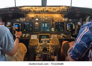WARSAW, POLAND, August 5, 2017: Illuminated cockpit of flight simulator for the training of the pilots.