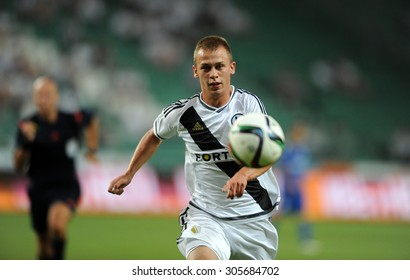 WARSAW, POLAND - AUGUST 6, 2015: Europa League Qualifications 2-nd round Legia Warsaw Poland - FK Kukesi Armenia o/p: Norbert Bartczak