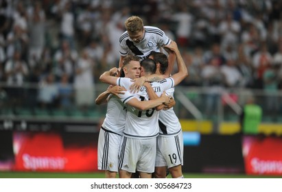 WARSAW, POLAND - AUGUST 6, 2015: Europa League Qualifications 2-nd round Legia Warsaw Poland - FK Kukesi Armenia o/p: Ondrej Duda goal, Dominik Furman ,Michal Kucharczyk