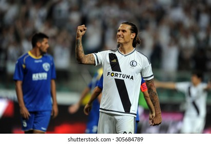 WARSAW, POLAND - AUGUST 6, 2015: Europa League Qualifications 2-nd round Legia Warsaw Poland - FK Kukesi Armenia o/p: Aleksandar Prijovic