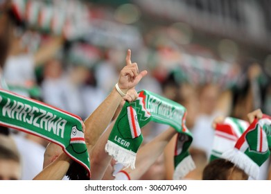 WARSAW, POLAND - AUGUST 6, 2015: Europa League Qualifications 2-nd round Legia Warsaw Poland - FK Kukesi Armenia o/p: Legia Football fans