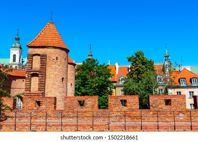 Warsaw, Poland Barbican or Barbakan fortified XVI century outpost with the defense walls in historic old town quarter