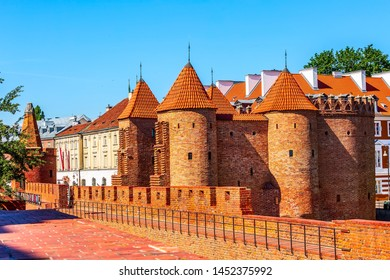 Warsaw, Poland Barbican or Barbakan, outpost with the defense walls and fortifications of the historic old town quarter