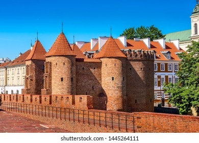 Warsaw, Poland Barbican or Barbakan- semicircular fortified XVI century outpost with the defense walls and fortifications of the historic old town quarter in Warsaw