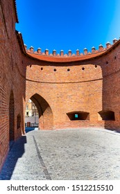 Warsaw, Poland Barbican or Barbakan semicircular fortified XVI century outpost with the defense walls and fortifications of the historic old town quarter