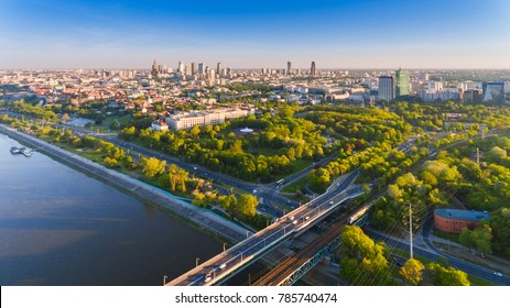 Warsaw, Poland capital city drone aerial view in summer sunset