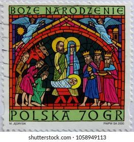 WARSAW , POLAND – CIRCA 2000s ; A post stamp of Poland devoted Christmas