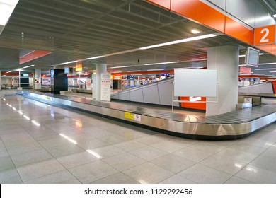WARSAW, POLAND - CIRCA NOVEMBER, 2017: baggage claim area in Warsaw Chopin Airport.