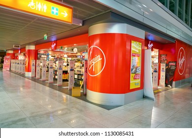 WARSAW, POLAND - CIRCA NOVEMBER, 2017: Virgin shop in Warsaw Chopin Airport.