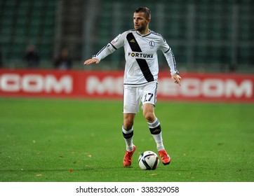 WARSAW, POLAND - DECEMBER 08, 2015: T-Mobile Extra League Polish Premier Football League Legia Warsaw Pogon Szczecin o/p: Tomasz Brzyski