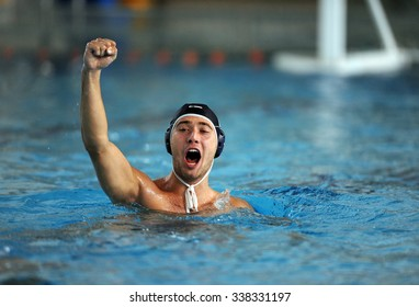 WARSAW, POLAND - DECEMBER 08, 2015: Polish Waterpolo super league Legia Warsaw - DSW Waterpolo Poznan o/p: waterpolo players