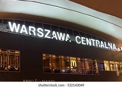 Warsaw, Poland - December 08, 2016: Caption Warsaw Central Railway Station