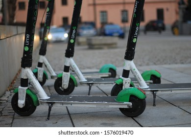 Warsaw / Poland - December 1 2019 - Lime scooters