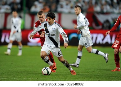 WARSAW, POLAND - DECEMBER 13, 2015: T-Mobile Extra League Polish Premier Football League Legia Warsaw Piast Gliwice o/p: Guilherme Pawel Moskwik