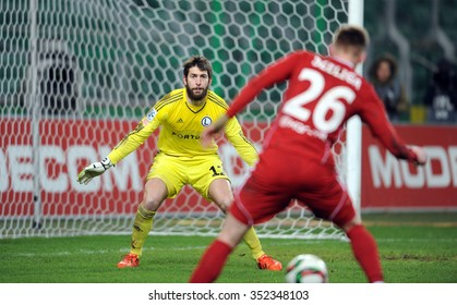 WARSAW, POLAND - DECEMBER 13, 2015: T-Mobile Extra League Polish Premier Football League Legia Warsaw Piast Gliwice o/p: Dusan Kuciak