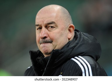 WARSAW, POLAND - DECEMBER 13, 2015: T-Mobile Extra League Polish Premier Football League Legia Warsaw Piast Gliwice o/p: Stanislav Cherchesov Czerczesow