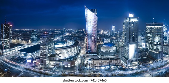 Warsaw, Poland, December 2016:Panoramic view of Warsaw downtown during the night