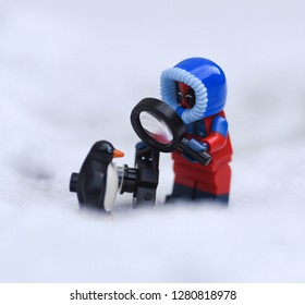 Warsaw, Poland - December 2018 - lego minifigure winter deadpool