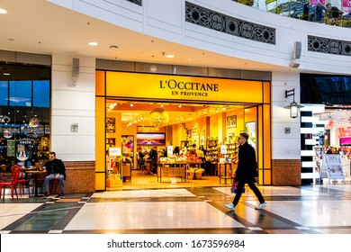 Warsaw, Poland - December 23, 2019: Westfield Arkadia shopping mall, largest complex in Central Europe with L'Occitane En Provence, Sephora and Costa Coffee boutique stores, shops with people