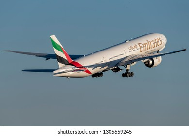 WARSAW, POLAND - DECEMBER 29: Emirates 777 (A6-EGL) takes off Warsaw Chopin Airport - WAW. December 29, 2015