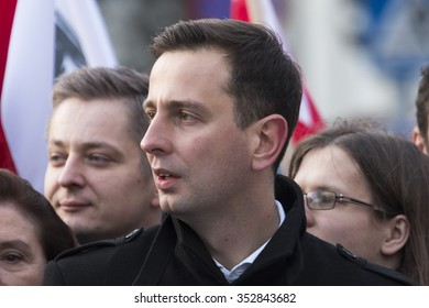 WARSAW, POLAND - DECEMBER 3, 2015: Polish democracy activists demonstrate against the hijacking of the Polish political scene by the governing party in Warsaw, Poland.