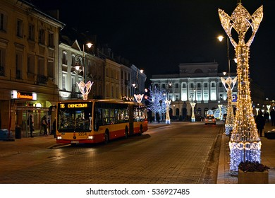 WARSAW, POLAND - DECEMBER 5 - Night view of the Krakowskie Przedmiescie on Royal Route, the representative street of Polish capital, with Christmas illuminations (lights) on December 5, 2016 in Warsaw