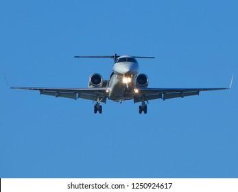 WARSAW, POLAND - DECEMBER 6, 2018: Jet Aviation Flight Services (Malta), airplane Embraer EMB-135BJ Legacy 600  (registration 9H-OKG) landing at Warsaw Chopin Airport (WAW, EPWA)