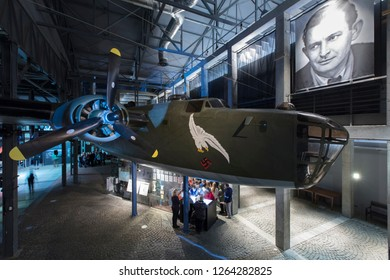 Warsaw, Poland, Europe, December 2018, B24 Liberator bomber replica in the Warsaw Uprising Museum