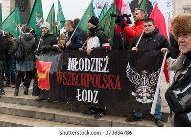WARSAW, POLAND - FEBRUARY 06, 2016: Unidentified people during demonstration against refugees in Warsaw, Poland.