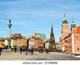 WARSAW, POLAND - FEBRUARY, 1:  View of Sigmund's Column and Castle Square on February 1, 2015  in Warsaw, Poland. Warsaw is the most visited by tourists city in Europe.