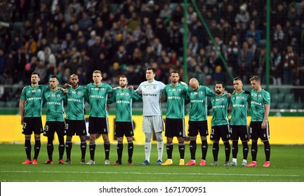 Warsaw, Poland, February 22, 2020: Polish Top League Ekstraklasa football game: Legia Warszawa - Jagiellonia Bialystok, Legia minute of silence