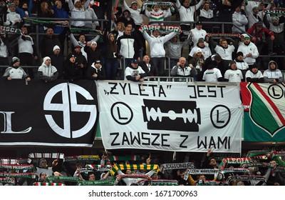 Warsaw, Poland, February 22, 2020: Polish Top League Ekstraklasa football game: Legia Warszawa - Jagiellonia Bialystok,  Legia supporters