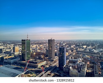 WARSAW, POLAND - FEBRUARY 23, 2019: Beautiful panoramic aerial drone view to the center of Warsaw City and hotel Marriott and railway station Warszawa Centralna