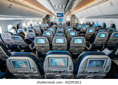 Passengers Sits In Boeing 787 Dreamliner Of