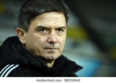 WARSAW, POLAND - FEBRUARY 28, 2016: T-Mobile Extra League Polish Premier Football League Legia Warsaw Ruch Chorzow o/p: Waldemar Fornalik coach