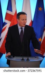 WARSAW, POLAND - FEBRUARY 5, 2016 : British Prime Minister David Cameron during meeting with Prime Minister of Poland Beata Szydlo